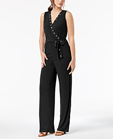 NY Collection Petite Belted Grommet Jumpsuit