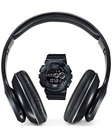 G-Shock Men's Digital Black Resin Strap Watch 51mm & Bluetooth Headphones Gift Set, Created for Macy's