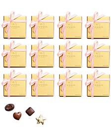 Set of 12 4-Pc Gold Boxes With Pink Ribbon