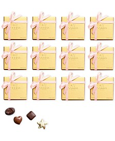 Godiva Set of 12 4-Pc Gold Boxes With Pink Ribbon