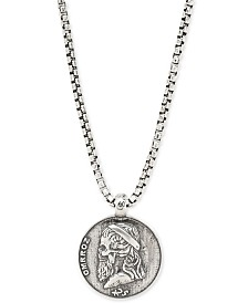"DEGS & SAL Men's Greek Skull Coin 24"" Pendant Necklace in Sterling Silver"