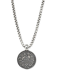 "DEGS & SAL Men's Ancient-Look Italian Lire Coin 24"" Pendant Necklace in Sterling Silver"