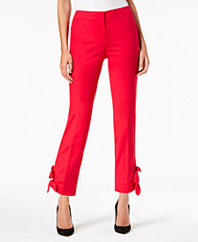 Nine West Bow-Trim Straight-Leg Pants