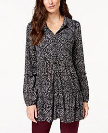 Style & Co Petite Printed Mesh Shirt, Created for Macy's