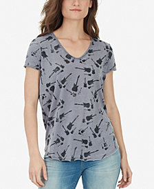 WILLIAM RAST Guitar-Print V-Neck Top