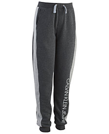 Calvin Klein Big Boys Hatched Pieced Logo Fleece Pants
