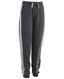 Calvin Klein Big Boys Hatched Pieced Logo Fleece Pants