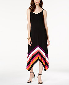 I.N.C. Petite Striped-Border Handkerchief-Hem Maxi Dress, Created for Macy's