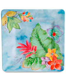 Gibson Blue Floral Square Salad Plate, Created for Macy's