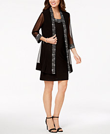 R & M Richards Metallic-Embellished Dress & Jacket
