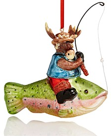 Lodge Moose Riding a Fish Ornament Created For Macy's