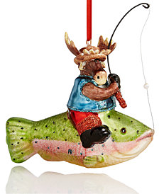 Holiday Lane Moose Riding A Giant Fish Ornament, Created for Macy's