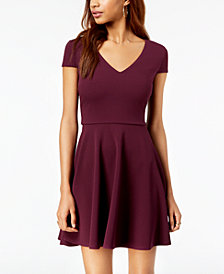 B Darlin Juniors' Bow-Back Fit & Flare Dress