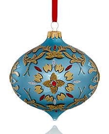 Holiday Lane Blue Glass Onion with Floral Pattern Ornament, Created for Macy's