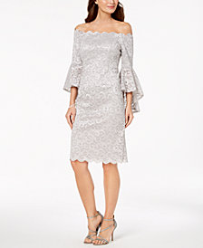 R & M Richards Off-The-Shoulder Lace Dress