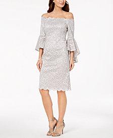 R & M Richards Off-The-Shoulder Lace Dress