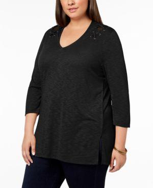 Lace-Up-Shoulder Top, Plus Size, Black