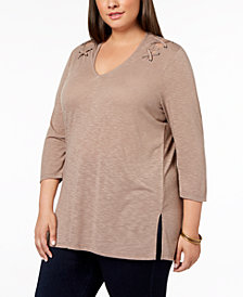 Love Scarlett Plus Size Lace-Up V-Neck Top