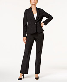 Le Suit Pinstriped One-Button Pantsuit, Regular & Petite