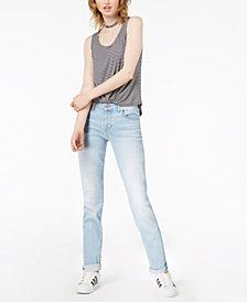 7 For All Mankind Mid-Rise Distressed Josefina Boyfriend Jeans, Striking Light Indigo Wash