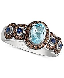 Multi-Gemstone (3/4 ct. t.w.) & Diamond (3/8 ct. t.w.) Ring in 14k White Gold
