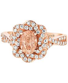 Le Vian® Peach Morganite™ (1/2 ct. t.w.) & Diamond (3/8 ct. t.w.) Ring in 14k Rose Gold