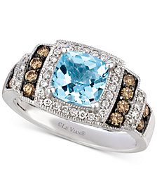 Le Vian® Sea Blue Aquamarine® (1-1/4 ct. t.w.) & Diamond (3/8 ct. t.w.) Ring in 14k White Gold