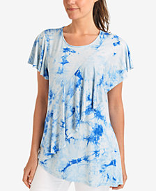 NY Collection Ruffled Tie-Dye T-Shirt