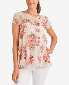 NY Collection Floral-Print Mesh Top