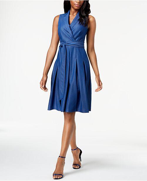 Notch Collar Faux Wrap Dress