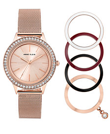Anne Klein Women's Rose Gold-Tone Stainless Steel Mesh Bracelet Watch 35mm