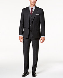 Michael Kors Men's Classic-Fit Natural Stretch Charcoal Tic Vested Suit