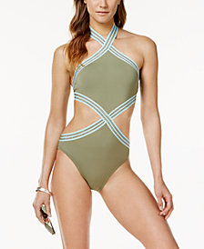 Vince Camuto Sea Band High-Neck Monokini One-Piece Swimsuit