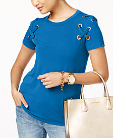 MICHAEL Michael Kors Lace-Up T-Shirt in Regular & Petitie Sizes