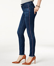 I.N.C. Racing-Stripe Skinny Jeans, Created for Macy's