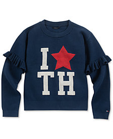Tommy Hilfiger Big Girls Ruffle-Sleeve Sweater