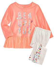 First Impressions Baby Girls Graphic-Print Top & Floral-Print Leggings, Created for Macy's
