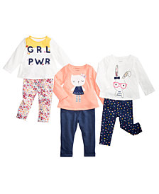 First Impressions Baby Girls Graphic-Print Tops & Leggings Separates, Created for Macy's