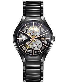 Rado Men's Swiss Automatic True Black High-Tech Ceramic Bracelet Watch 40mm