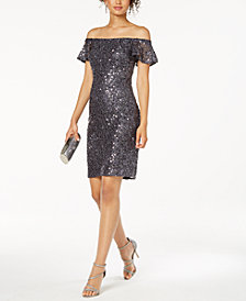 Nightway Off-The-Shoulder Sequined Lace Dress