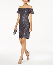 cc6509949ac Nightway Off-The-Shoulder Sequined Lace Dress