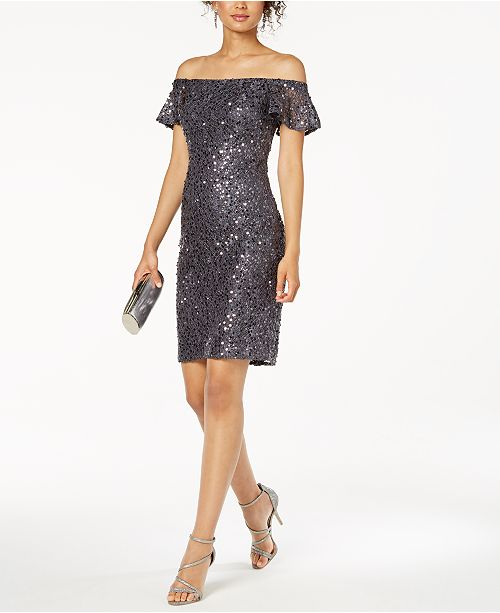 c63dd63c252 Nightway Off-The-Shoulder Sequined Lace Dress   Reviews - Dresses ...