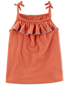 Carter's Little Girls' Embroidered Tie Tank Top