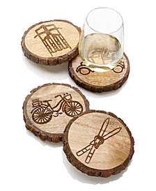Martha Stewart Collection Wood Coasters with Icons, Set of 4, Created for Macy's