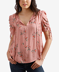 Lucky Brand Floral-Print Puffed-Sleeve Top