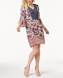 Style & Co Petite Mixed-Print Peasant Dress, Created for Macy's