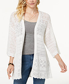 Style & Co Kimono-Sleeve Pointelle-Knit Cardigan, Created for Macy's