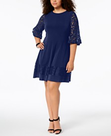 Jessica Howard Plus Size Lace Bell-Sleeve Dress