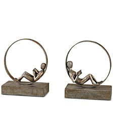 Lounging Reader Set of 2 Antique-Look Bookends