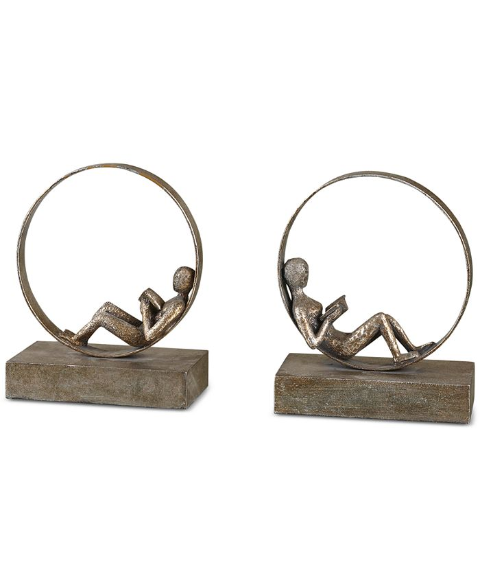 Uttermost - Lounging Reader Set of 2 Antique-Look Bookends